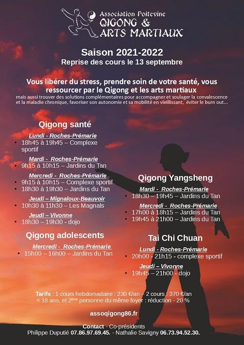 Reprise des cours hebdomadaires Qigong, Tai Chi, méditation
