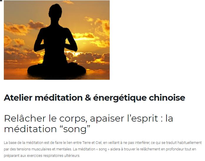 """Premier atelier """"Méditation & énergétique chinoise"""""""