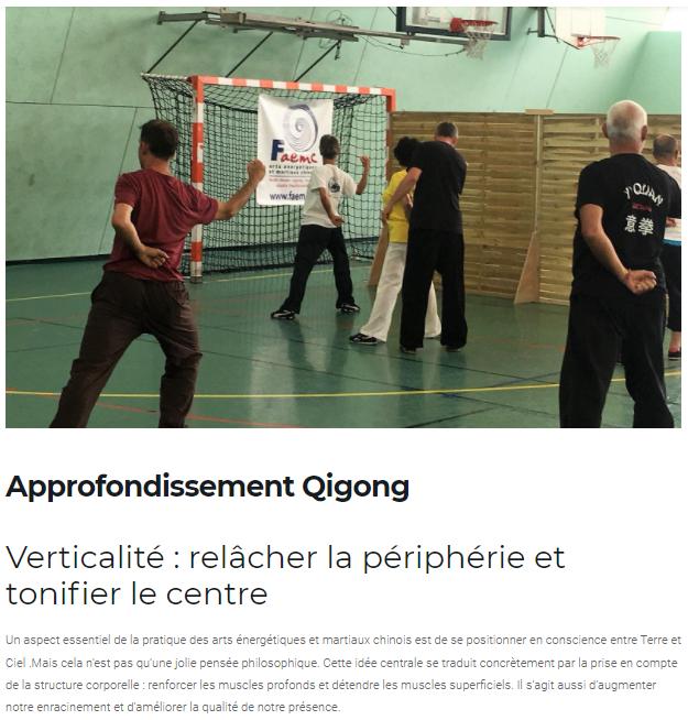 Atelier d'approfondissement Qigong : Verticalité, relâcher la périphérie et tonifier le centre